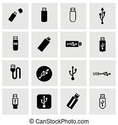 vector, conjunto, usb, icono