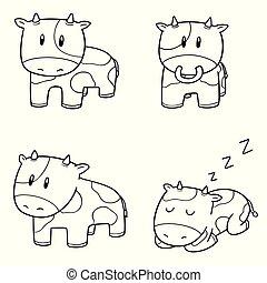 vector, conjunto, vaca