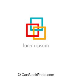 Color icon for union, association, league, community. Logo networking, colored connected squares Vector illustration