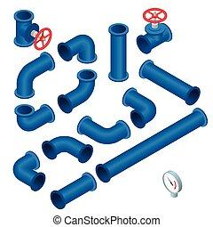 vector, construcción, tubos, 3d, pedazos, válvula, ...