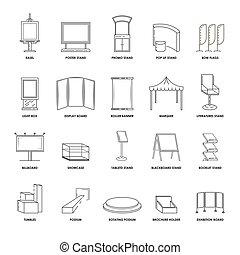 vector, construcciones, estantes, iconos, vitrina, aislado, ...