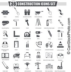 Vector Construction and building tools black icon set. Dark grey classic design for web.