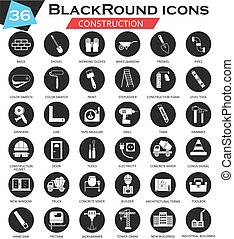 Vector Construction and building tools circle white black icon set. Ultra modern icon design for web.