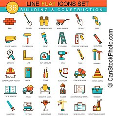 Vector Construction and building tools flat line icon set. Modern elegant style design  for web.