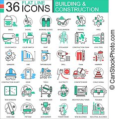 Vector Construction and building tools modern color flat line outline icons for apps and web design.