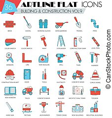 Vector Construction and building tools ultra modern outline artline flat line icons for web  apps.
