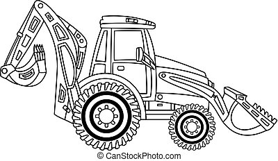 Vector Construction Digger. Vector Excavator.