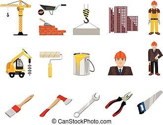 Vector construction flat icon set