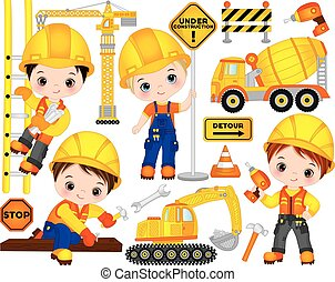 Vector Construction Set with Little Builders, Transport and Tools