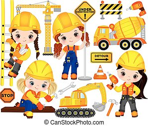 Vector Construction Set with Little Girl Builders, Transport and Tools