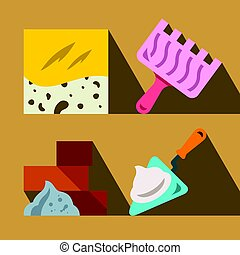 Vector Construction tools and materials. Flat style colorful...