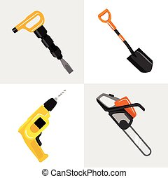 Vector construction tools icon set