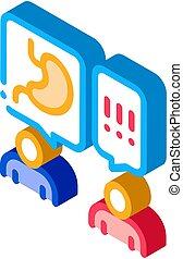 vector, consulta, doctor, isométrico, ilustración, gastroenterologist, icono, recepción