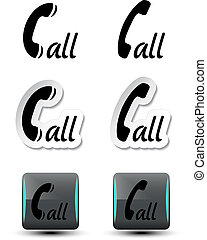 contact, call buttons - phone symbols - EPS 10 - Vector...