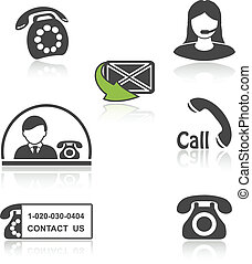 Vector contact, call icons - phone symbols with shadow -...