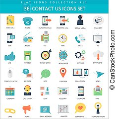 Vector contact us color flat icon set. Elegant style design.