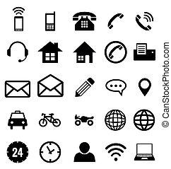 vector, contacto, colección, empresa / negocio, icono