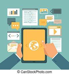 vector, contenido, mercadotecnia, concepto, en, plano,...