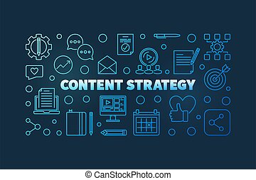 Vector Content Strategy blue linear horizontal illustration