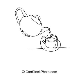 continuous line drawing of Tea pot and tea cup on a white background.