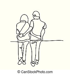 young couple walking together - Vector continuous line...