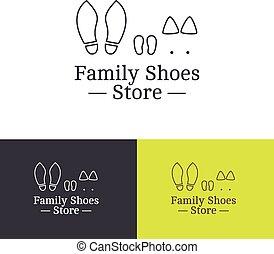 vector, contorno, familia , shoes, tienda, logotype