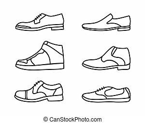vector, contorno, shoes, icono, conjunto