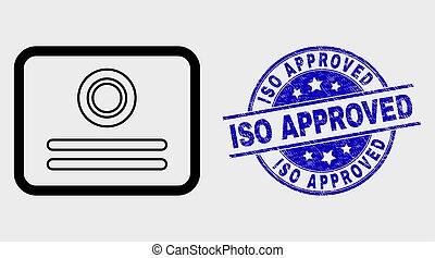 Vector Contour Certificate Icon and Scratched ISO Approved Seal