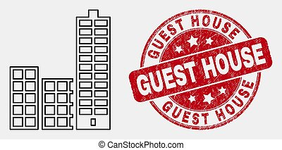 Vector Contour City Buildings Icon and Distress Guest House ...