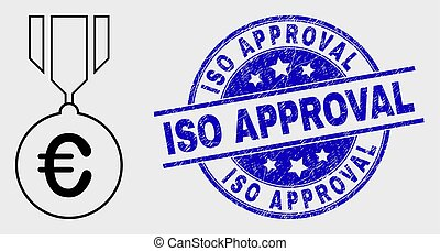 Vector Contour Euro Medal Icon and Distress ISO Approval Watermark