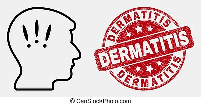 Vector Contour Headache Icon and Scratched Dermatitis Stamp