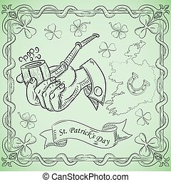 contour illustration coloring on the theme of St. Patricks day celebration, hand holding a Smoking pipe