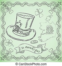 contour illustration coloring on the theme of St. Patricks day celebration, hat cylinder with clover