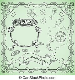 contour illustration coloring on the theme of St. Patricks day celebration, leprechaun pot with gold coins