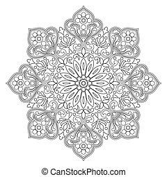 Vector contour mandala on a white background