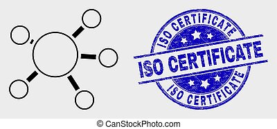 Vector Contour Node Links Icon and Distress ISO Certificate Seal