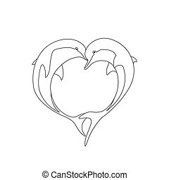Vector contour of two dolphin couple in love with shape heart. Greeting card illustration. Coloring page book