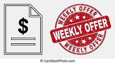 Vector Contour Price List Page Icon and Distress Weekly Offer Stamp