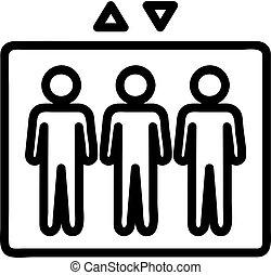 vector., contour, symbole, illustration, icône, gens, ascenseur, isolé