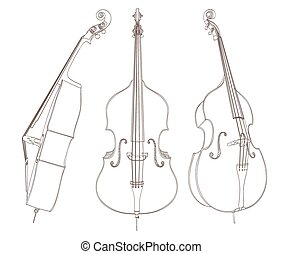vector, contrabajo, white., ilustración, dibujo