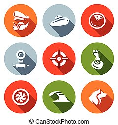 vector, controle, duiken, radar, scheepje, periscoop, icons., kapitein, duikboot, set, zee, torpedo, wolf., doel