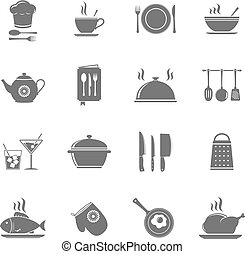 Vector cooking and kitchen icons set