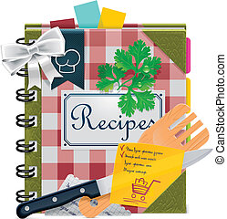 Detailed icon representing recipes book with cooking tools