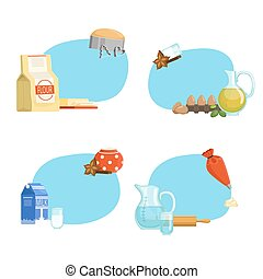 Vector cooking ingridients or groceries stickers