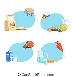 Vector cooking ingridients or groceries stickers