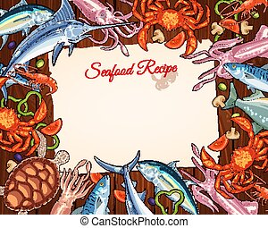 Vector cooking recipe template of seafood and fish