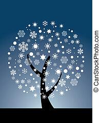 vector, copo de nieve, árbol