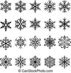 vector, copos de nieve, ilustraciones, conjunto