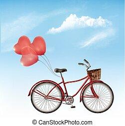 vector., coração amoldou, céu vermelho, bicicleta, frente, balões, experiência., azul