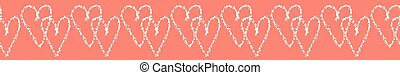 Vector coral and blue textured 2 hearts entwined. Seamless...